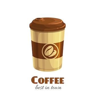 Koffie drinken wegwerp papieren beker pictogram cartoon stijl.
