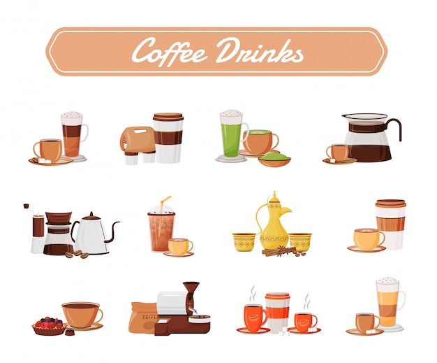 Koffie drinkt objecten set