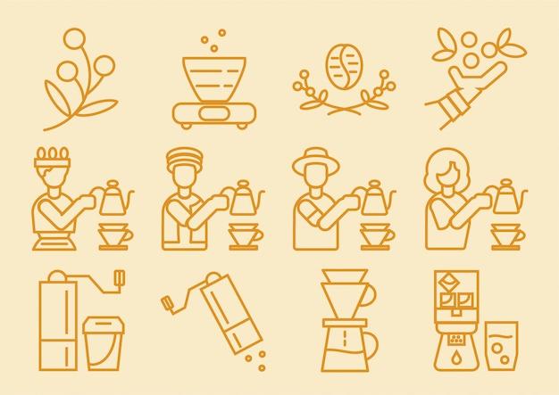 Koffie dripper pictogram met koffiezet proces