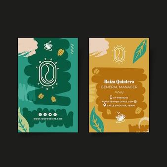 Koffie dubbelzijdige verticale visitekaartjesjabloon Premium Vector