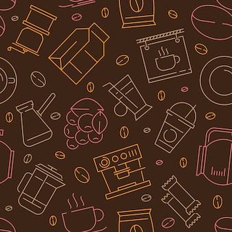 Koffie elementen lineair naadloos patroon