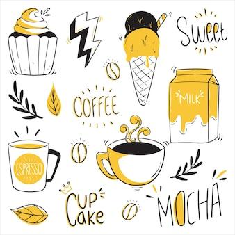 Koffie-elementen met schets of doodle stijl