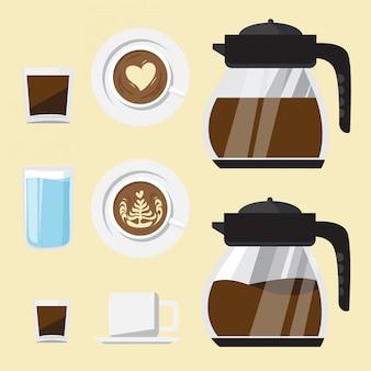Koffie elementen vector set