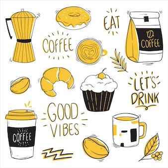 Koffie-elementencollectie met doodle stijl