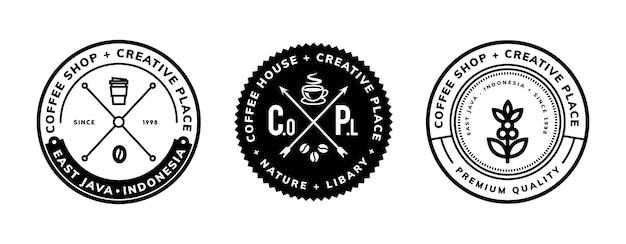 Koffie embleemontwerp sjabloon met kruis lijn