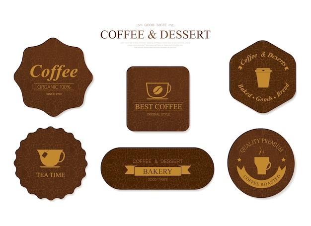 Koffie en bakkerij label bruine kleur en lederen badge.
