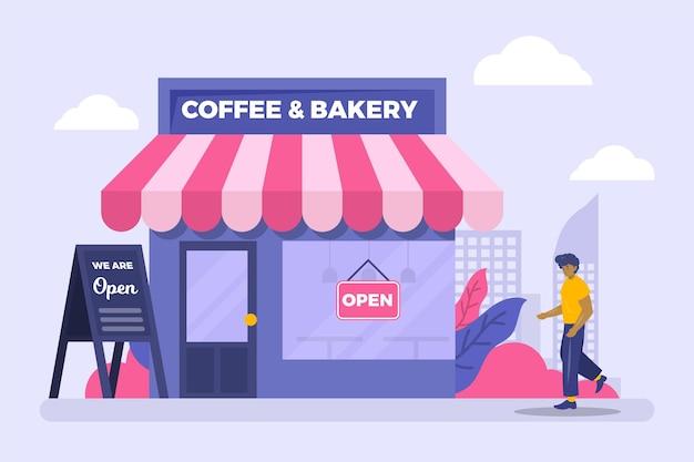 Koffie- en bakkerijwinkel die het bedrijf heropent