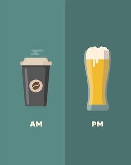 Koffie en bier citaten. koffiekop. koffiekopje vectorillustratie.