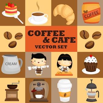 Koffie en cafe vector set