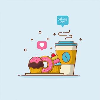 Koffie en desserts in vlakke stijl