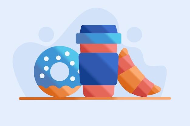 Koffie en donut illustratie