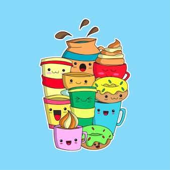 Koffie en donuts doodle
