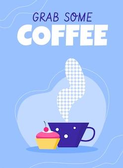 Koffie en inscriptie, platte vectorillustratie.