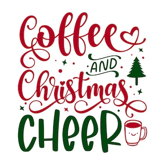 Koffie en kerstsfeer typografie premium vector design-offertesjabloon