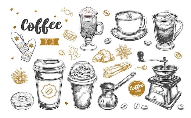 Koffie en koffie om mee te nemen. hand getekende illustraties.