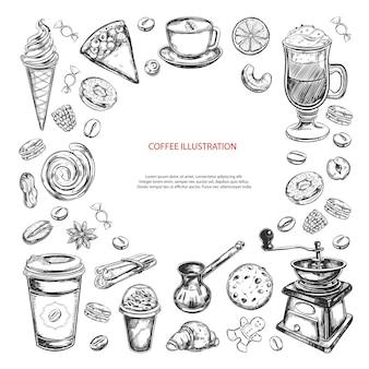 Koffie en koffie om te gaan geïsoleerd op wit