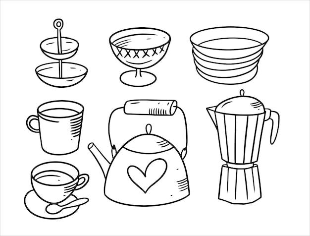Koffie en thee doodle elementen set geïsoleerd op wit Premium Vector