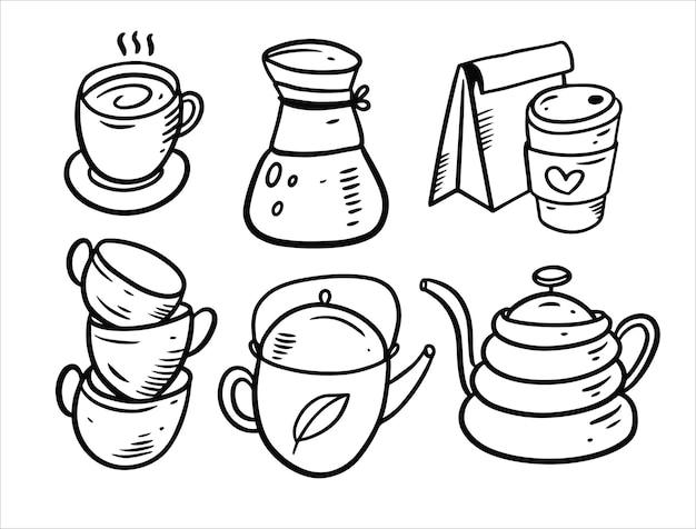 Koffie en thee doodle elementsset geïsoleerd op wit
