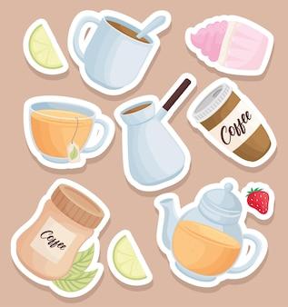 Koffie en thee drinkt pictogrammen