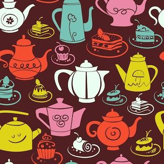 Koffie en thee naadloos patroon. set van zoete taarten en theepotten pictogrammen