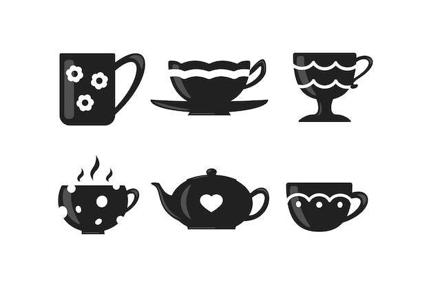 Koffie- en theekopenset. teatime mok pictogrammen.