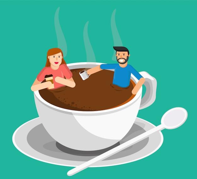 Koffie en vrouw ontmoeten