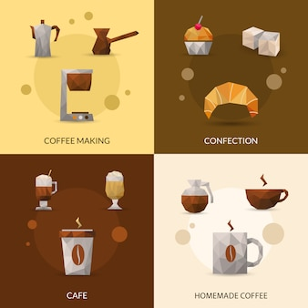 Koffie en zoetwaren icon set