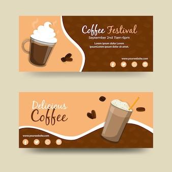 Koffie festival banners ontwerpen Premium Vector
