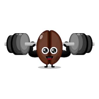 Koffie fitness barbell schattig karakter mascotte