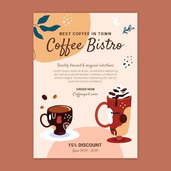 Koffie flyer ontwerpsjabloon