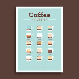 Koffie gids flyer sjabloon