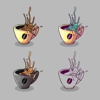 Koffie glas logo illustratie