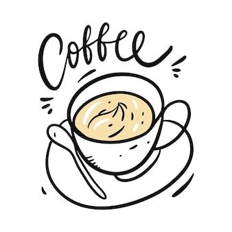 Koffie hand getekend en belettering. geïsoleerd op witte achtergrond. cartoon stijl.