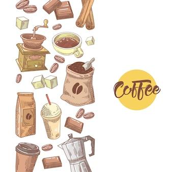 Koffie hand getekend ontwerp met koffiebonen