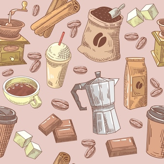 Koffie hand getrokken naadloze achtergrond met bonen