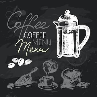 Koffie hand getrokken schoolbord ontwerpset. zwarte krijttextuur