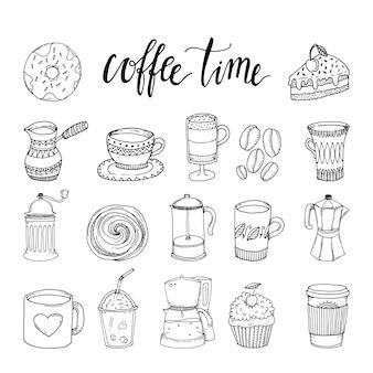 Koffie hand getrokken zwart-wit elementen instellen