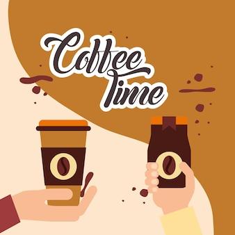 Koffie handen houden tijd papieren beker en instant fles