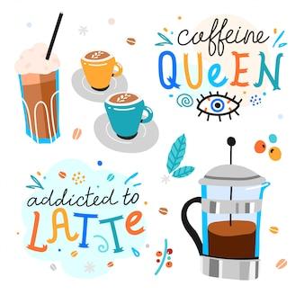 Koffie handgeschreven letters met koffiemokken en franse pers