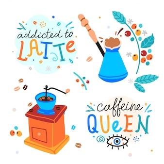 Koffie handgeschreven letters met vintage koffiemolen en cezve illustraties