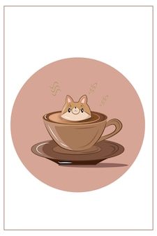 Koffie hond hoofd topping vectorillustratie