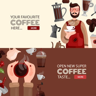 Koffie horizontale banner sjabloon set