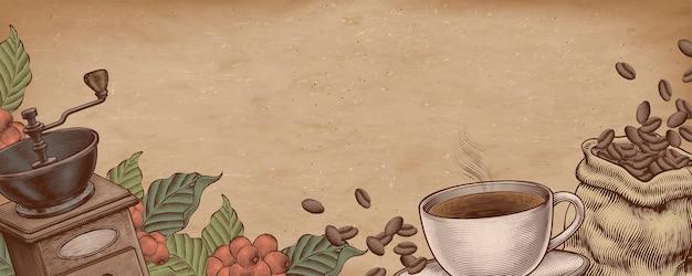 Koffie houtsnede stijl illustratie op kraftpapier banner