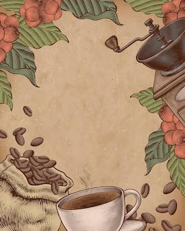 Koffie houtsnede stijl illustratie op kraftpapier poster