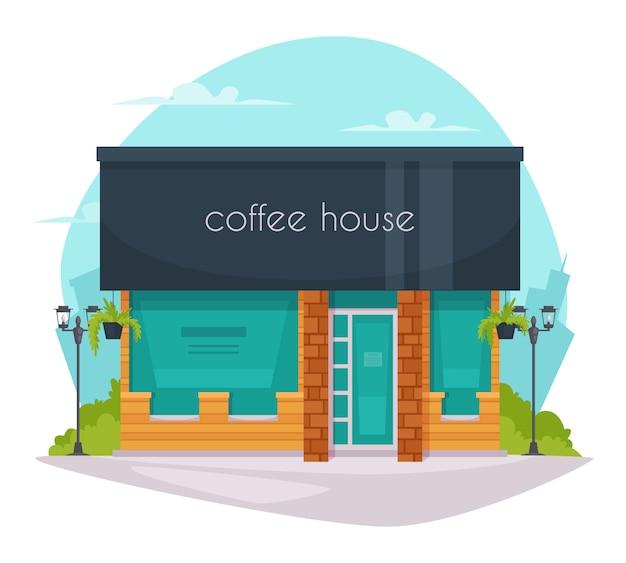 Koffie huis voorzijde platte pictogram