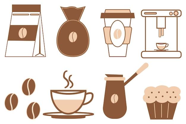 Koffie icon set pakket koffiebonen koffiezetapparaten en een zak koffie vectorillustratie