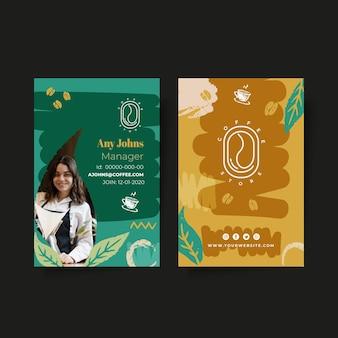 Koffie identiteitskaart afdruksjabloon