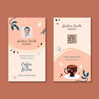 Koffie identiteitskaart ontwerpsjabloon