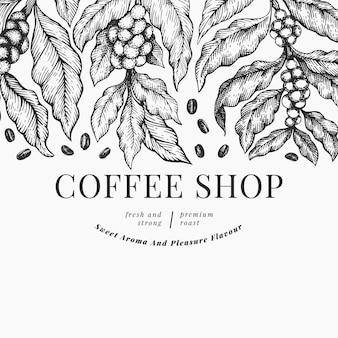 Koffie illustratie sjabloon.