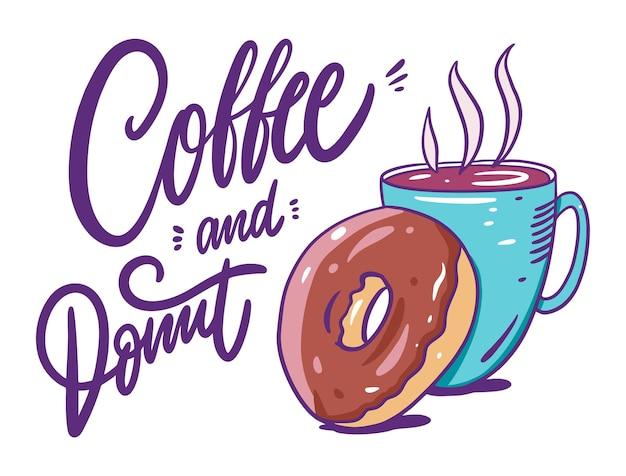 Koffie in blauwe mok en chocoladedoughnut. cartoon stijl.